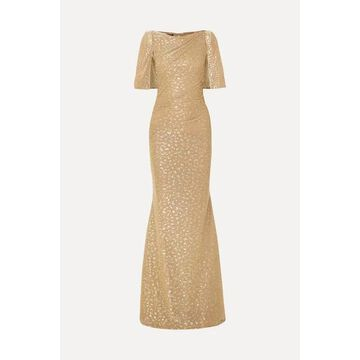 Talbot Runhof - Cape-effect Draped Metallic Fil Coupe Voile Gown - Gold