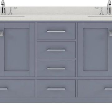 Virtu USA Caroline Avenue 72-in Double Bath Vanity in Grey with Dazzle White Top and Round Sink in Gray | GD-50072-DWQRO-GR-NM