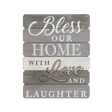 """Stratton Home Decor """"Bless our home with love and laughter"""" Wall Art"""