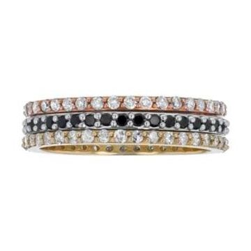 14K Gold 1ct TDW Women's Stacking Band Rings Set by Beverly Hills Charm (9)