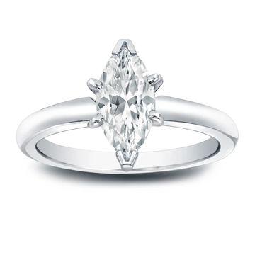 Auriya Platinum 1 carat TW Marquise Solitaire Diamond Engagement Ring