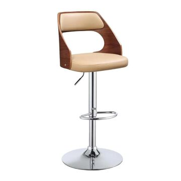 Benzara Beige and Brown Adjustable Height Upholstered Swivel Bar Stool | BM157323