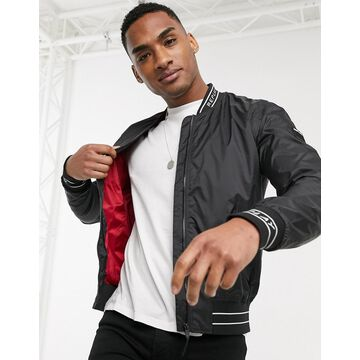 Replay tape bomber jacket in black