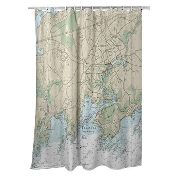 SH12373BR 70 x 72 in. Branford Harbor, CT Nautical Map Shower Curtain