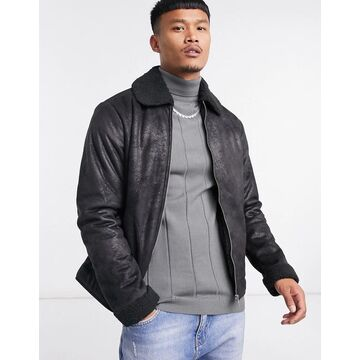 Jack & Jones Originals aviator jacket in black