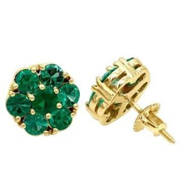 14K Gold Cluster Emerald Stud Earrings by Luxurman - Green (Yellow)