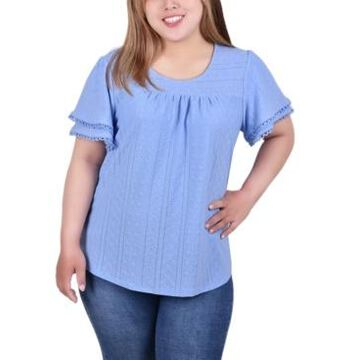 Ny Collection Plus Size Double Flutter Sleeve Knit Eyelet Top
