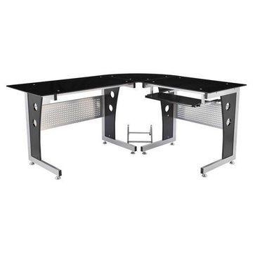 HomCom 64'' Modern L-Shaped Dark Glass Top Office Workstation Computer Desk - Black