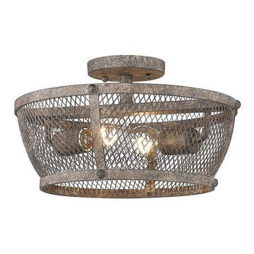 Golden Lighting Calgary 13.875-in Pebbled Rust Farmhouse Incandescent Semi-Flush Mount Light