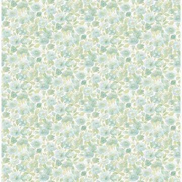 Brewster 2657-22216 Elsie Teal Floral Wallpaper