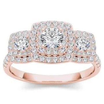 De Couer IGI Certified 10k Gold 1ct TDW Diamond Halo 3-stone Engagement Ring