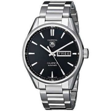 Tag Heuer Men's 'Carrera' Black Dial Stainless Steel Day Date Watch (Black)