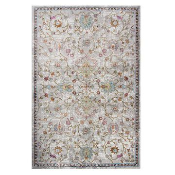 Rizzy Home Princeton Distressed Floral Rug, Beig/Green, 4X5.5 Ft