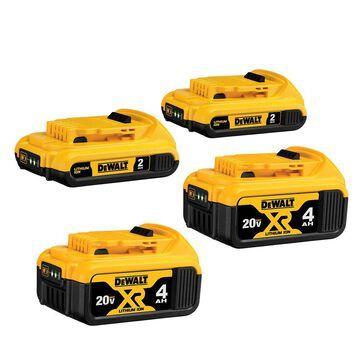 DEWALT 20-Volt Max 4-Pack 2 Amp-Hour; 4 Amp-Hour Lithium Power Tool Battery | DCB324-4