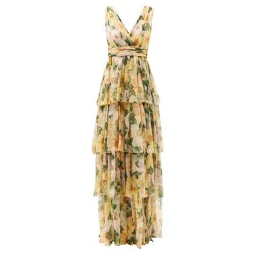 Dolce & Gabbana - Tiered Camellia-print Silk-chiffon Gown - Womens - Yellow Multi