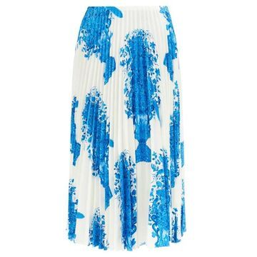 Valentino - Delft-print Knife-pleated Silk-twill Midi Skirt - Womens - Blue White