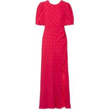 Saloni - Annie Gathered Silk-jacquard Maxi Dress