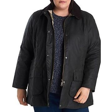 Barbour Plus Beadnell Waxed Cotton Corduroy-Collar Coat