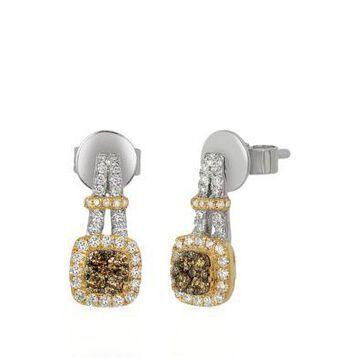 Le Vian Women 1/5 Ct. T.W. Chocolate Diamonds And 1/3 Ct. T.W. Vanilla Diamonds Chocolatier Earrings In 14K Two-Tone Gold