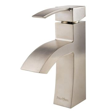 Pfister Bernini Brushed Nickel 1-Handle 4-in Centerset WaterSense Bathroom Sink Faucet with Drain and Deck Plate   LF-042-BNKK