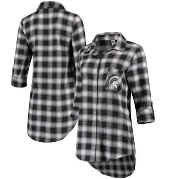 Women's Concepts Sport Green/Black Michigan State Spartans Forge Rayon Flannel Long Sleeve Button-Up Shirt