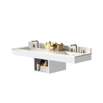 Ronbow Adina White Wood 61-inch Bathroom Vanity Set with Ceramic Sink
