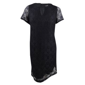 ECI Women's Plus Size Lace Shift Dress (1X, Black) - Black - 1X