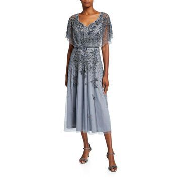 Dolman-Sleeve Handed Beaded Midi Cocktail Dress