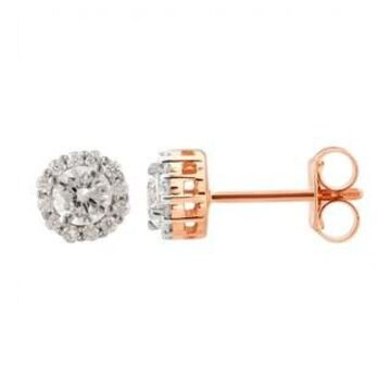 Divina 10KT Gold 1/2ct TDW Round Diamond Halo Earrings