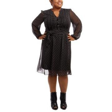 Msk Plus Size Pintucked Dot-Print Fit & Flare Dress