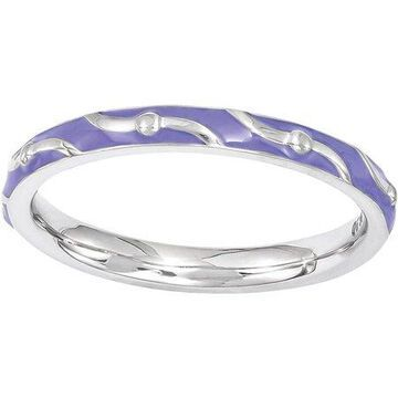 Stackable Expressions Sterling Silver Purple Enamel Ring