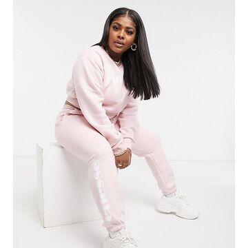 ellesse plus cropped sweatshirt & sweatpants set in black-Pink