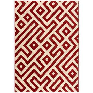 Hanover 5 Ft. x 8 Ft. Indoor/Outdoor Backless Rug with 5000 Hours of UV Protection - Greek Key Red