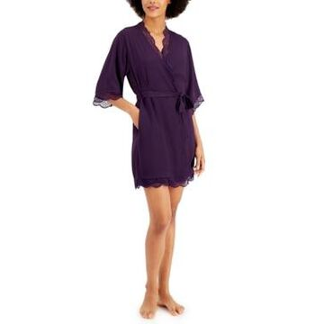 Inc International Concepts Lace Trim Short Robe, Created for Macy's