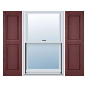 Builders Edge, Standard Two Equal Panels, Raised Panel Shutters, Wineberry