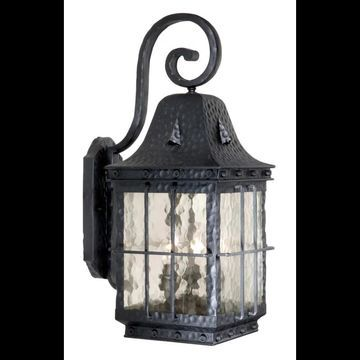 Vaxcel Lighting ED-OWD090 Edinburgh 3 Light Outdoor Wall Sconce - 9 Inches Wide Textured Black Outdoor Lighting Wall Sconces Outdoor Wall Sconces