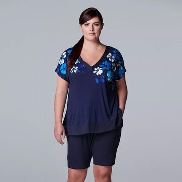 Plus Size Simply Vera Vera Wang Pajama Top & Pajama Bermuda Shorts Set, Women's, Size: 1XL, Dark Blue