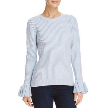 Derek Lam 10 Crosby Womens Ruffled Bell Sleeves Pullover Sweater