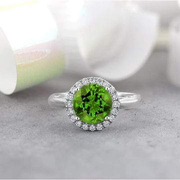 Auriya 2 1/2ct Round Peridot and 1/4ctw Halo Diamond Engagement Ring by Auriya