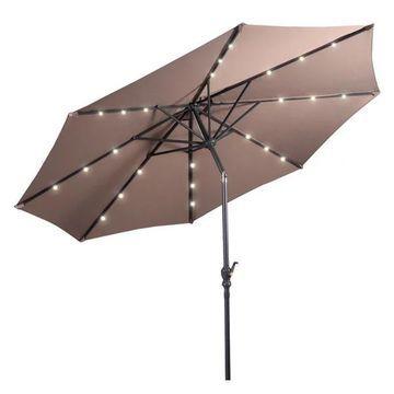 Costway 10ft Patio Solar Umbrella LED Patio Market Steel Tilt w/ Crank
