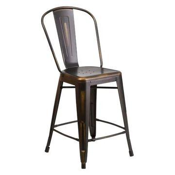 Flash Furniture Distressed Copper Metal Stool