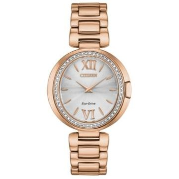 Citizen Eco-Drive Women's Capella Diamond-Accent Rose Gold-Tone Stainless Steel Bracelet Watch 34mm