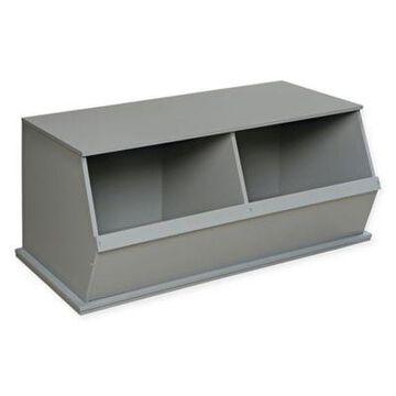 Badger Basket Two Bin Stackable Storage Cubby in Grey