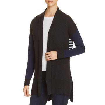 Three Dots Womens Ribbed Trim Long Sleeves Cardigan Sweater