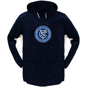 Women's Majestic Navy/White New York City FC Plus Size Contrast Heathered Pullover Hoodie