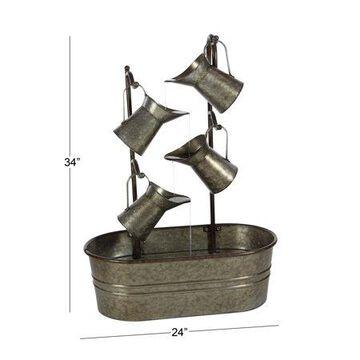 "DecMode Outdoor 24"" x 34"" Grey Metal Farmhouse Fountain"