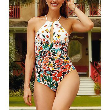 Anne Cole Women's One Piece Swimsuits MULT - White & Orange Floral Triangle-Back Cutout One-Piece - Women