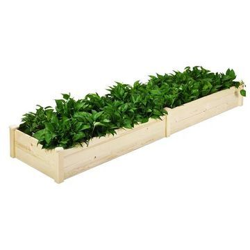 Costway Raised Garden Bed Wooden Elevated Planter Box Herbs Flowers Be
