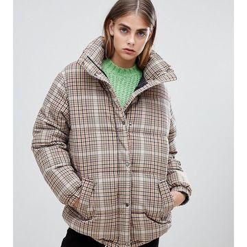 Bershka check padded coat