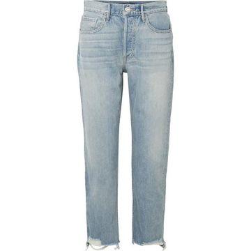 3x1 - W3 Higher Ground Cropped Frayed High-rise Straight-leg Jeans - Light denim